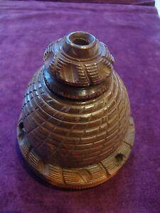 Delightful antique lignum Vitae Beehive shaped inkwell - Preston, United Kingdom - Delightful antique lignum Vitae Beehive shaped inkwell - Preston, United Kingdom