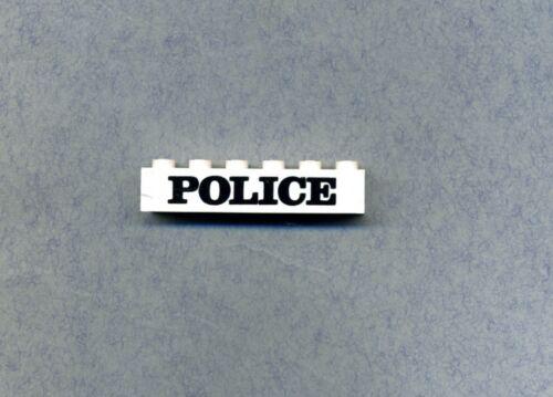 Lego--3009--3009px10 Police 1 x 6 --Weiß//Schwarz Bedruckt-Schrift breit
