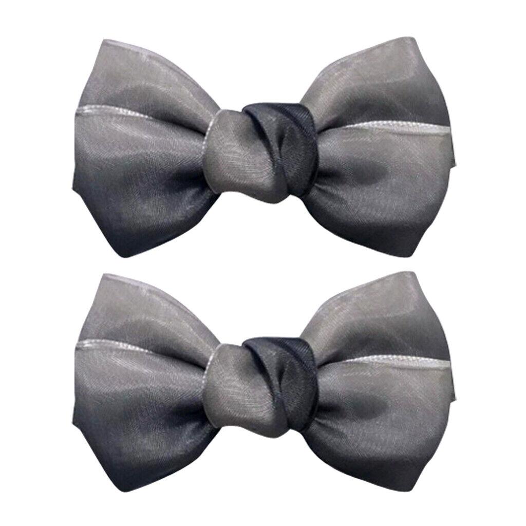 1 Pair Bowknot Shoe Buckle Wedding Party Shoe Clips Shoes Decoration Gray