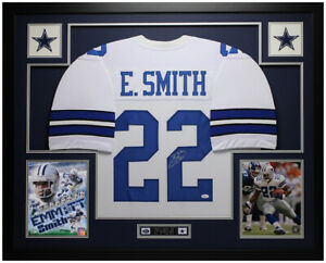 Emmitt-Smith-Autographed-and-Framed-White-Cowboys-Jersey-Auto-JSA-COA-D5-L