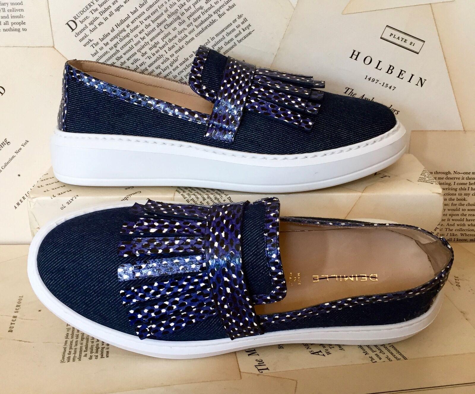 NEW Deimille Denim Leather Fringe Slip On scarpe scarpe scarpe da ginnastica 38  7-7.5 1cb02e