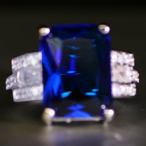 Coeur Argent 925 Rempli Saphir Bleu Pierre de Naissance Fiançailles Anneau Mariage 6-10