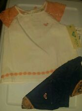 SO CUTE ROXY BABY GIRL'S 2 PIECE SUMMER SET. DENIM/PEACH/CREAM. 4T