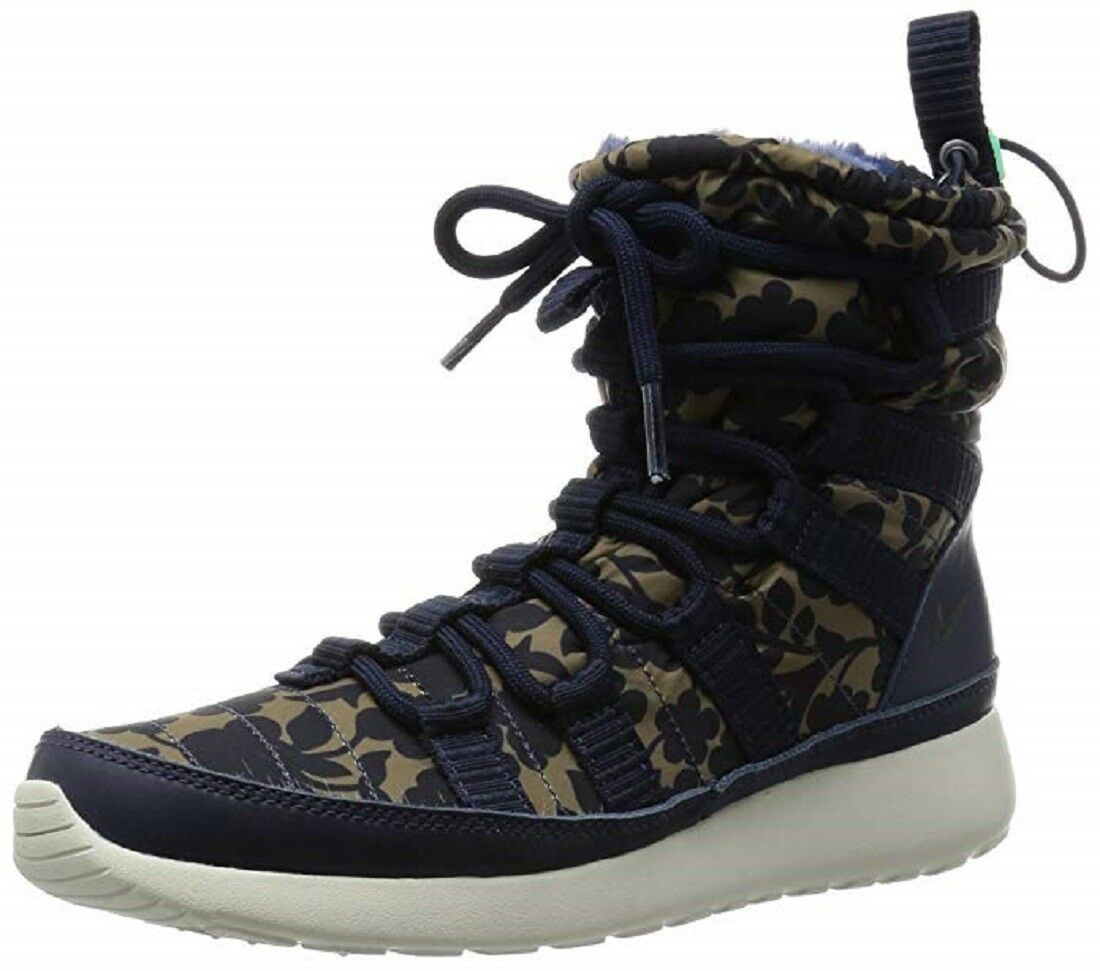 Nike NIB Women Roshe Sneaker Boots - Navy Khaki Floral One HI Lib QS 821776-400