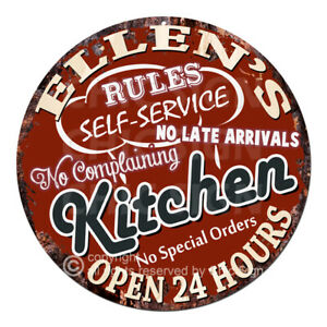 CWKR-0126-ELLEN-039-S-KITCHEN-Funny-Rules-Tin-Sign-Mother-039-s-day-Gift-For-Woman