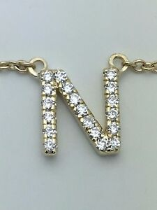 14k yellow gold diamond n initial letter charm pendant with 18 la foto se est cargando 14k diamante oro amarillo 039 n 039 inicial aloadofball Images