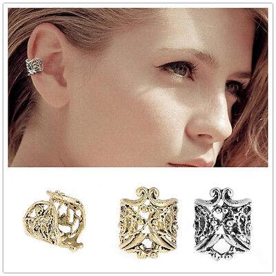 2Pcs Women Men Vintage Antique Ear Cuff Punk Small Hollow Charm Clip Earrings G