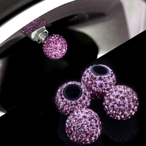 Purple Car Rhinestone Tire Valve Caps Diamond Shining Air Caps Auto Accessories