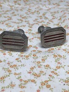 2-1950's Art Deco Vintage Antique Chrome Redline Drawer Pulls (2)