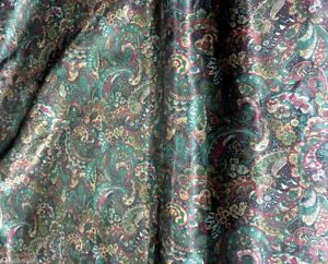 Smooth Roses Print Dark Red and Gold Faux Silk Satin Fabric Material for Wild rags Scarves Dresses Tops
