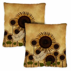 Toland Sunflowers On Black 12 x 19 Inch Outdoor Pillow Case 2-Pack