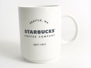 Starbucks 14 oz  2018 White Ceramic Coffee Mug Cup Co Seattle Wa Est 1971