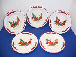 Image is loading Macy-s-The-Cellar-Santa-Sleigh-5-Salad- & Macyu0027s The Cellar Santa Sleigh 5 Salad Dessert Plates (7.5 ...