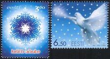 Estonia 2001 Christmas/Greetings/Dove/Snowflake/Birds/Nature 2v set (ee1023)