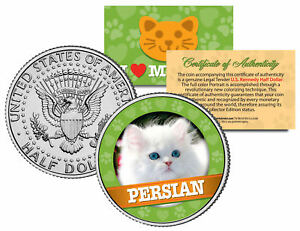 PERSIAN-Cat-JFK-Kennedy-Half-Dollar-US-Colorized-Coin