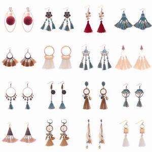 Bohemian-Gold-Silver-Antique-Ethnic-Earrings-Long-Tassel-Fringe-Women-Earrings