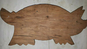 OLD-PRIMITIVE-WOODEN-WOOD-BREAD-CUTTING-BOARD-PLATE-PIG-7