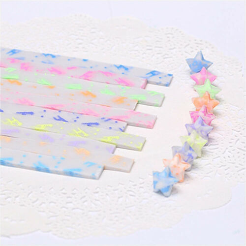 210PCS Luminous Paper Strips Origami Folding Lucky Star Ribbons Girl Crafts Gift