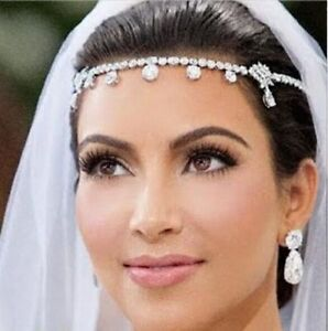 Image Is Loading Crystal Frontlet Forehead Head Chain Wedding Bridal Jewelry