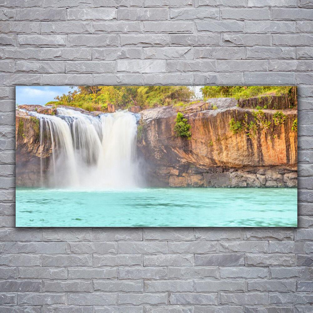 Wandbilder Glasbilder Druck auf Glas 120x60 Wasserfall See Landschaft