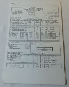 DAWSON'S CREEK set used CALL SHEET plus 13 pages of sides ~ Season 5, Episode 15