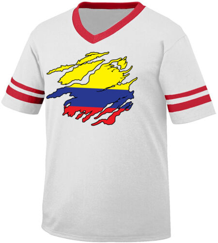 Colombian Flag Colors Colombia Ripped Torn Shirt Team CO Men/'s V-Neck Ringer Tee