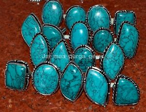 Wholesale 5 Pcs Lot Turquoise Gemstone 925 Sterling Solid Silver Rings RS-52