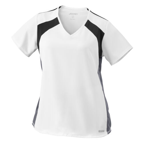 Jockey Women/'s 2403 Sporty Mesh Panel V-Neck 2 Pocket Contrast Top