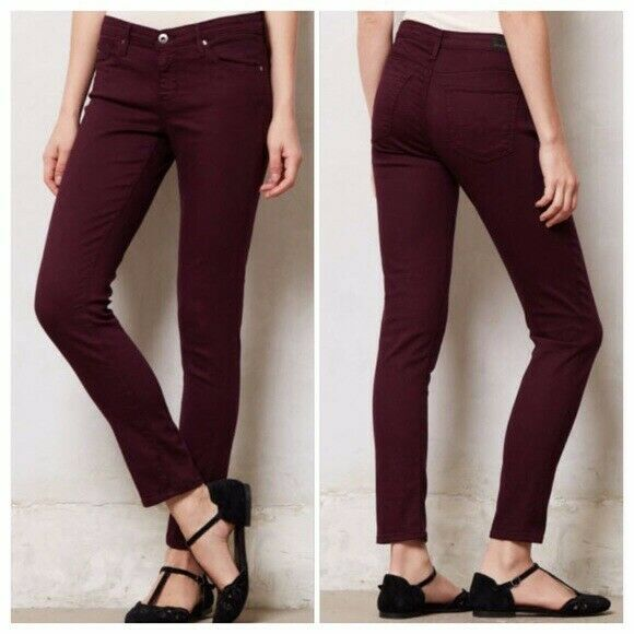 AG Adriano goldschmied Stevie Ankle Maroon Plum Jeans Size 25