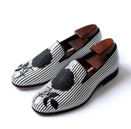 Fashion Men's Dress flower Embroidery Handmade Formal Loafer Real Leather shoes