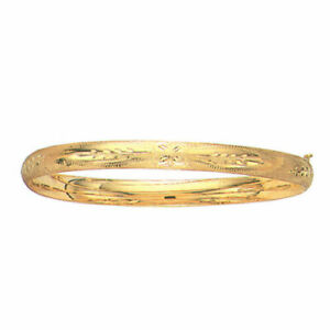 10kt Yellow Gold Florentine Etched Bangle HInged Bracelet 7