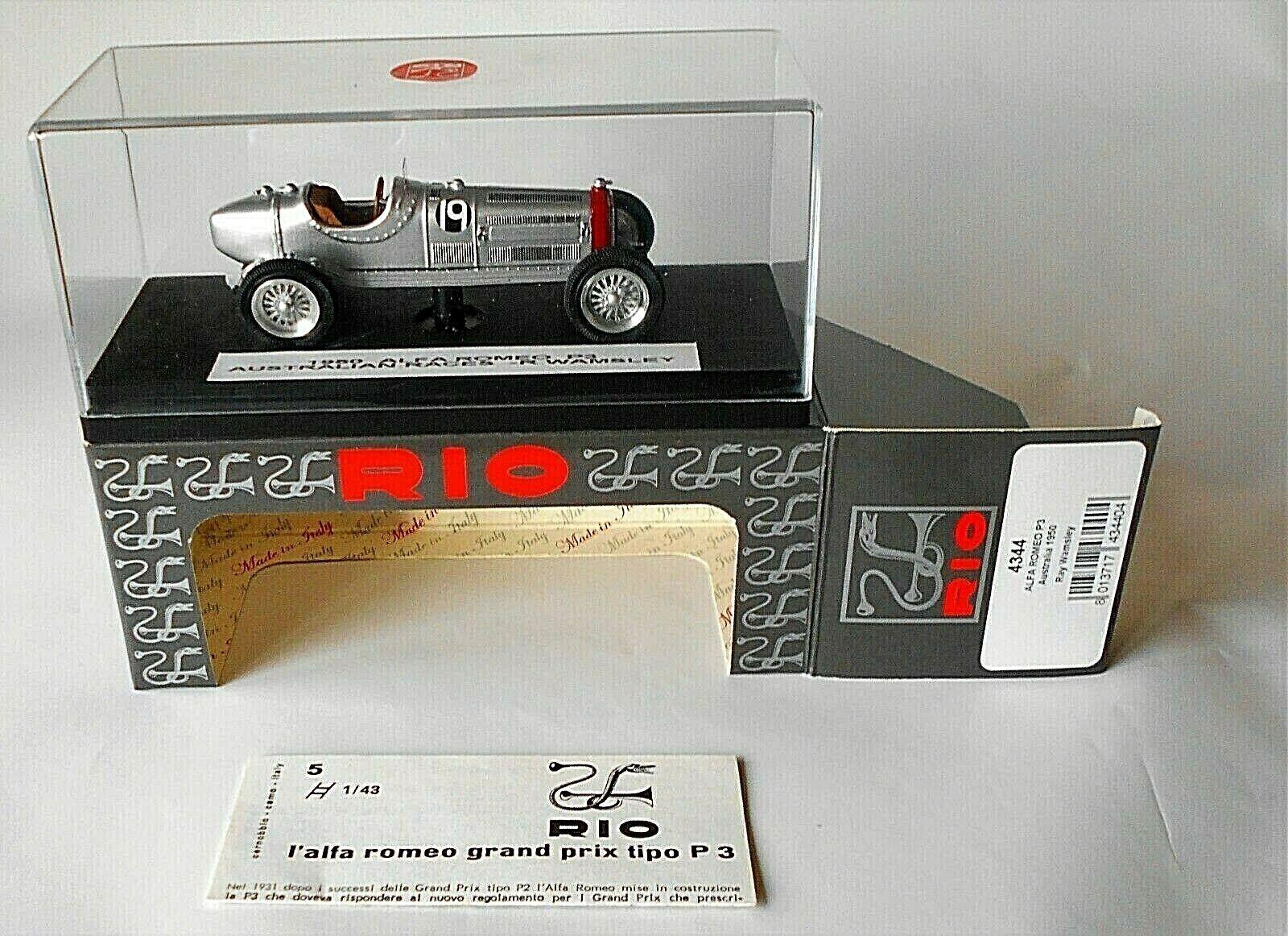 precios al por mayor Alfa Romeo P3 Australia Australia Australia GP 1950 R Wamsley Rio 1 43 Diecast Modelo  4344 Plata  lo último