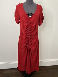 Leona Edmiston Red Midi Dress With Button Details Size 2 (12) EUC
