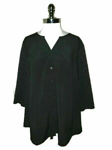 DENIM & CO. Plus Size 2X Blouse Shirt Top Stretch Lace 3/4 Sleeves Black