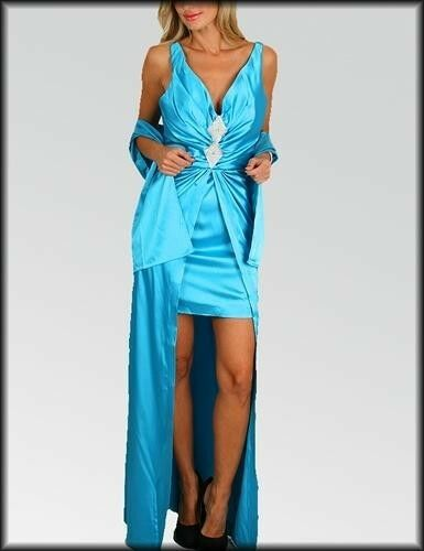 Long Blue Bridesmaid Evening Formal Party Ball Gown Prom Wedding Dress S M