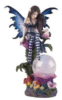 "7.5"" Blue Fairy LED Light Crystal Ball Statue Figurine Figure Fantasy Fairies"