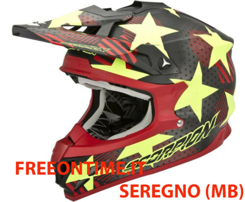 CASCO HELMET CROSS QUAD ENDURO MOTO SCORPION VX 15 EVO AIR STADIUM giallo ROSSO