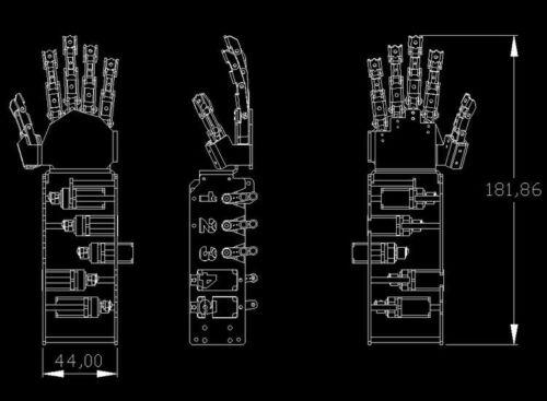 5 Fingers 5DOF Claw Manipulator Arm Left Hand w// 5pcs Servos for Arduino Robot
