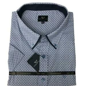 Mens-Big-Size-Cotton-Valley-Bue-White-Spotted-Short-Sleeve-Shirt