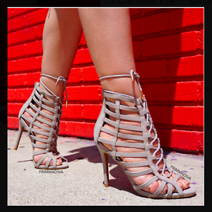 338f77080d GREY GRAY LACE UP HIGH HEELS STILETTOS PUMPS PEEP TOE OPEN FASHION ...