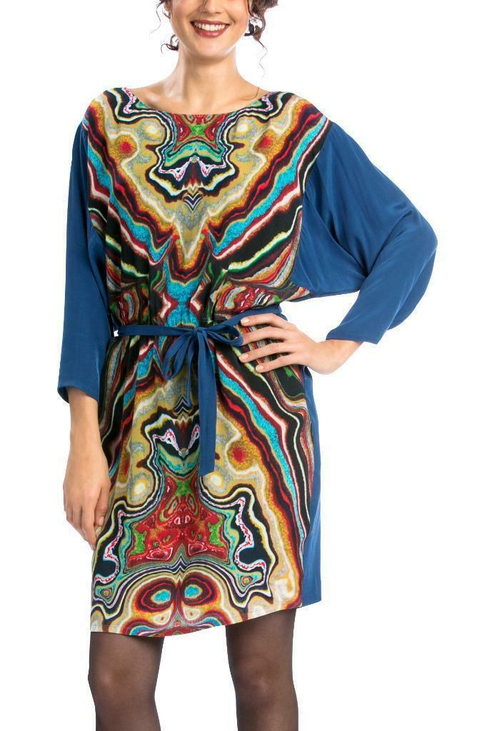 DESIGUAL BY L SIL DRESS S-L 10-14 RRP104 Blau SWIRLY BELTED LONG SLEEVE LACROIX