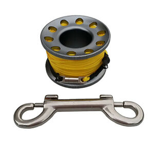 15M Scuba Diving Aluminum Alloy Finger Reel With Steel Double Ended Snap Clip !