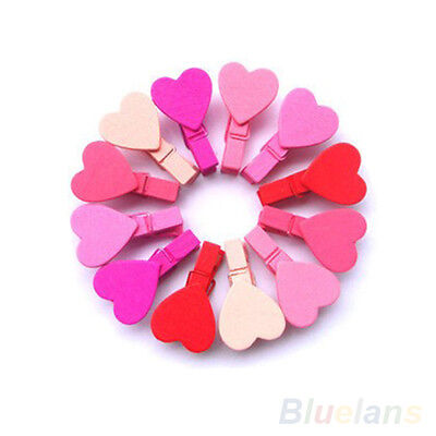 12Pcs Mini Cute Heart Love Wooden Photopaper Peg Pin Clothespin Craft Clips BA8A