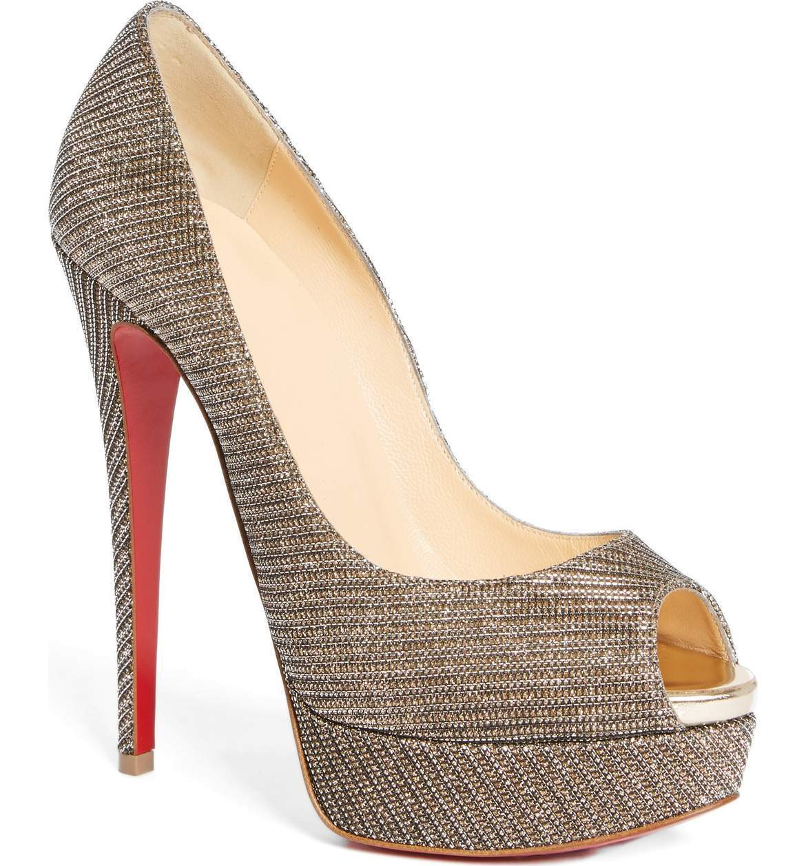 Sz 6.5   37 Christian Louboutin Metallic Silver Silver Silver Lady Peep Toe Platform Pump shoes 3d6638
