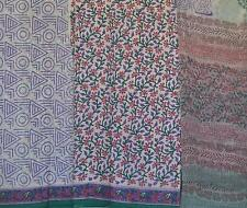 Cotton Bagru dress material for Salwar kameez pink florals purple leaves