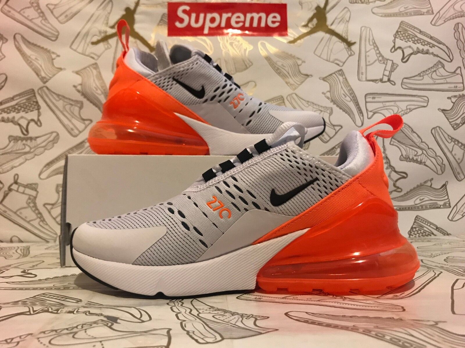 low priced c4aa5 ec6c0 Authentic Women s Nike Air Max 270 270 270 White Total Orange Black AH6789-