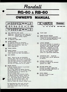 randall instruments rg rb 60 guitar mixer eq equalizer original rh ebay ie Automobile Owners Manual Car Owners Manual