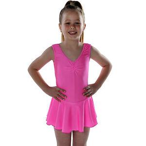 7e69ed304 Girls  Sleeveless Ballet Dance Leotard with skirt Shiny Nylon Lycra ...