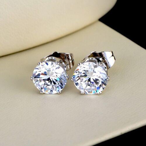 Women/'s Ear Stud Boucles d/'oreilles 18k or blanc rempli 8 mm Rond Zircone cubique Or Rempli Fashion Jewelry