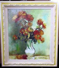 "Vtg Impressionist Oil Painting Still Life Flowers Vase Signed (""C...Sun""?)"